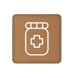 pharmacy icon on wooden blocks isolated on a white vector image