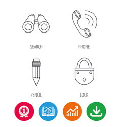 Phone call pencil and search icons vector
