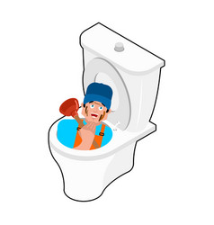 Plumber in toilet and plunger service of wc vector