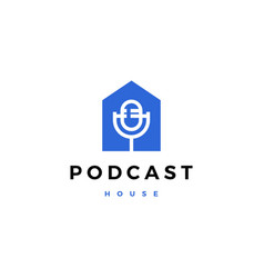 podcast mic house home logo icon vector image