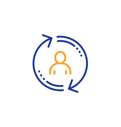Refresh user info line icon update profile sign vector
