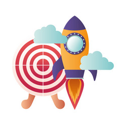 Rocket with target shooting isolated icon vector
