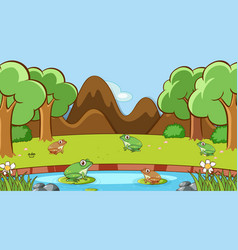 Scene with many frogs pond vector
