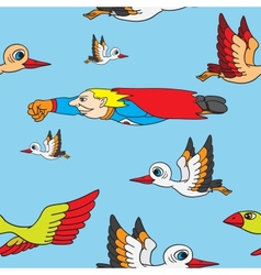 Seamless background Birds and superman flying in vector