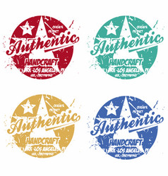set authentic prints apparel in different vector image