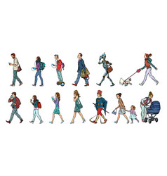 Set collection pedestrians people walk women vector