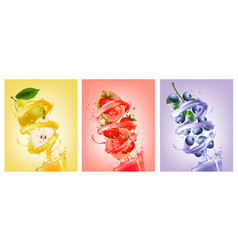 Set of fruit in juice splashes pear strawberry vector