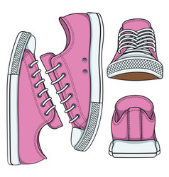 Set of with pink sneakers vector