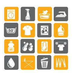 Silhouette Washing machine and laundry icons vector