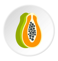 Sliced fresh papaya icon circle vector