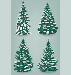Snow trees set on isolated background christmas vector