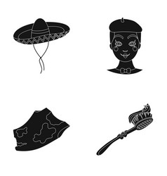 Sombrero frenchman and other web icon in black vector