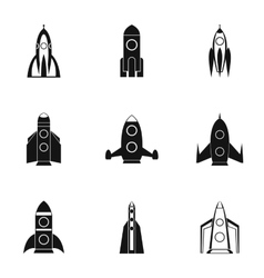 Space rocket icons set simple style vector