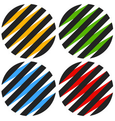 Striped 3d spheres orbs sphere icons abstract vector