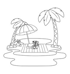 Summer vacation beach objects cartoon vector