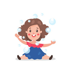 sweet cartoon brunette little girl having fun vector image