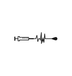 syringe icon medical instrument and kardiogram vector image