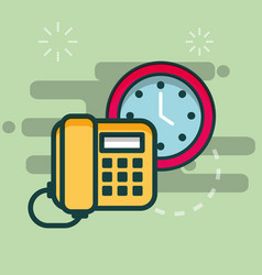 telephone and clock time business office vector image
