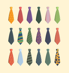 Ties collection colorful business scarf for man vector