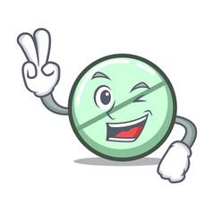 Two finger drug tablet character cartoon vector