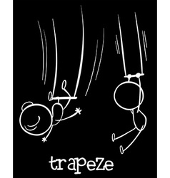 Two people doing trapeze vector