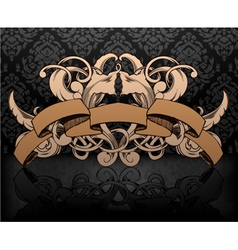 vintage emblem with damask background vector image