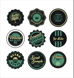 vintage labels black and green set 2 vector image vector image