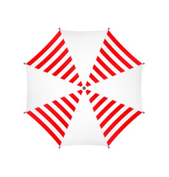 White Umbrella With Red Stripes Top View vector