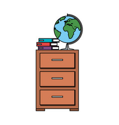 World planet map and books in drawer vector