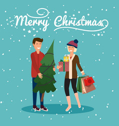 Young couple holding christmas tree and gifts get vector