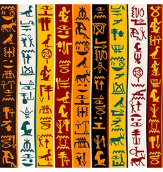 Colorful background with Egyptian hieroglyphs vector image vector image