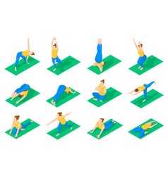 people in yoga poses isometric icons vector image vector image