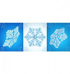 set of vector crystal snowflak vector image