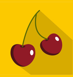 two ripe red cherry berries icon flat style vector image