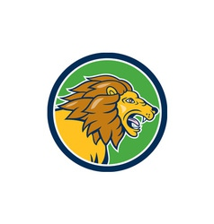 Angry Lion Head Roar Circle Cartoon vector image vector image