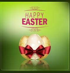 easter eggs with a red ribbon on green background vector image vector image