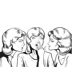 line woman whispering gossip vector image