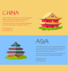 china asia traditional kinds of houses on grass vector image vector image
