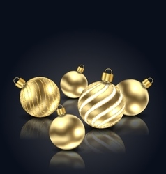 Christmas Golden Balls with Reflection vector image