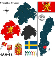 Map of Ostergotland vector image vector image
