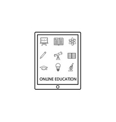 online education line icon set e-learning vector image vector image