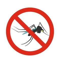 Prohibition sign mosquitoes icon flat style vector image vector image
