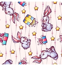 seamless pattern with cartoon rabbits and gift vector image