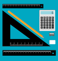 set of math tool icons isolated on blue background vector image