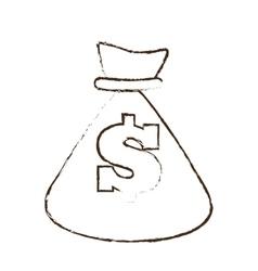 bag money dollar cash sketch vector image