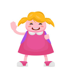 little girl with blond hair having fun waving her vector image