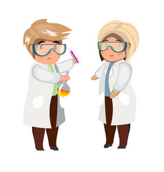 man and woman looking at flask isolated vector image vector image