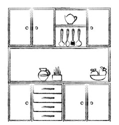 monochrome sketch of kitchen cabinets with vector image vector image