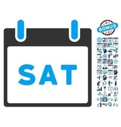 Saturday Calendar Page Flat Icon With Bonus vector image