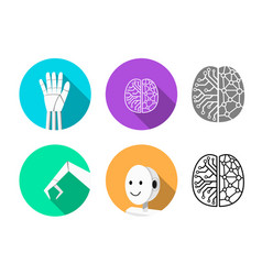 set of humanoid robot icon in flat style vector image vector image
